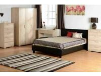 CHEAPEST PRICE EVER DOUBLE LEATHER BED IN BLACK/BROWN COLORS POPULAR CHOICE