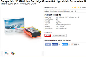 Compatible HP 920XL Ink Cartridge Combo Set High Yield