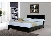 4ft6 5ft Best Double faux Leather bed Frame With headboard black white and chocolate brown colour