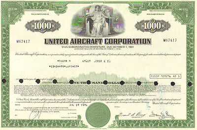 United Aircraft Corporation > 1976 due 1991 $1000 bond certificate