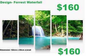 Green Waterfall in the Forrest Framed Canvas Print Baldivis Rockingham Area Preview