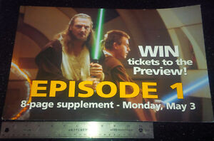 STAR WARS EPISODE 1 Canada National Post Bus Poster Ad 18 X1 2