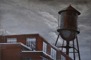 toile art contemporain d'un paysage urbain