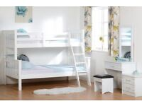 Delivery 7Days a Week White Wooden Triple Sleeper Bunk Bed Double and Single Two Memoryfoam Mattress