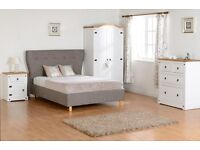 Solid Pine 3 Piece Bedroom Set Wardrobe/Chest of Drawer/Bedside Cabinets BRANDNEW Flat Packed
