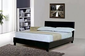 FREE FAST DELIVERY!!Double Leather Bed & Mattress Brand New Black / Brown