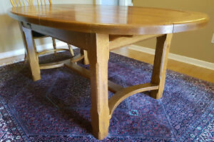 SOLID OAK FRENCH COUNTRY DINING TABLE BY: BARRÉ-DUGUÉ