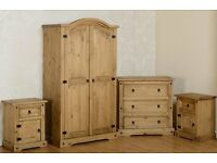 Solid pine 4 Piece Bedroom Set Wardrobe/Chest of Drawer/ Bedside Table BRANDNEW Flat packed