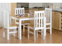 Ludlow Contrasting Oak Pine and White Dining Set with 4 Chairs Fully Assembled Brand New
