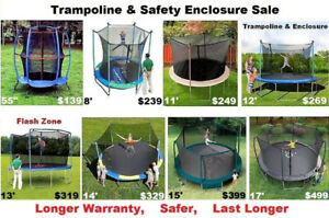 "Trampoline & Enclosure,55"",8',12',13',14'15',17', 10 yr Warranty"