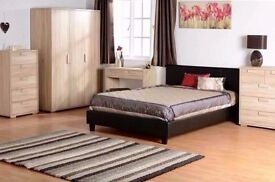 'LIMITED STOCK''Double Leather Bed + Deep Quilted Mattress --Very Cheap Price- Express Delivery