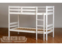 BRAND NEW Hard Pine Wood Bunk Bed Frame in White for Kids, Single with Choice of Mattresses