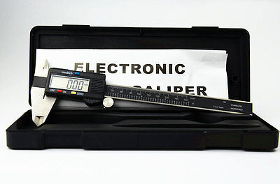 6 Inch Electronic Digital Caliper High Quality With Box Stainless Black Slide