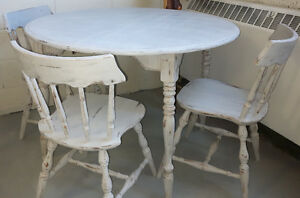 """Re-Finished 42"""" round table and chairs"""