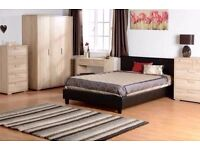 """LIMITED TIME OFFER""**FREE DELIVERY** BRAND NEW Double Leather Bed With 9"" Semi Orthopaedic Mattress"
