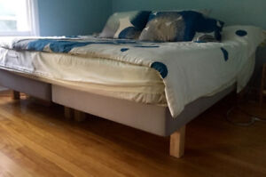 King bed frame plus mattress, sheets and duvet cover