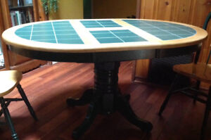 Solid Wood Tile Table with Hidden Leaf & 4 Chairs