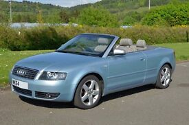Stunning Audi A4 1.8T Convertible 2005 FSH Pale Blue low mileage, MOT til May 2017