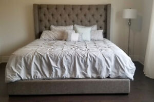 GREY TUFTED KING SIZED BED