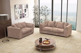 ▶FLAT 40% Off◀Brand New Italian Extra Padded Dylan Jumbo Cord Corner/3+2 Sofa in Mink Brown & Grey
