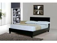 WHITE ORTHOPEDIC + 1000 POCKET MATTRESS OPTION NEW FAUX LEATHER KING SIZE BED WITH HEADBOARD
