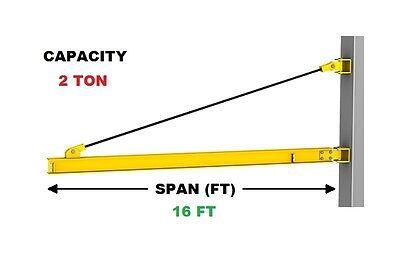 Gorbel Wall Bracket Jib Crane - 2 Ton Capacity Span 16 Ft