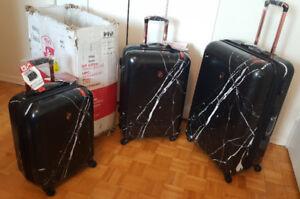 BNIB Heys Dakara Black Marble Luggage Set With integrated Lock