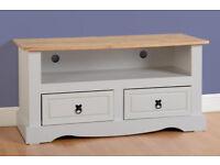 White Corona Flat Screen TV Unit - New Flat Packed - £90