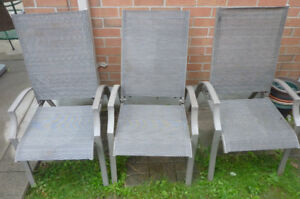 3 patio chairs with adjustable back rest, $ 25 for all