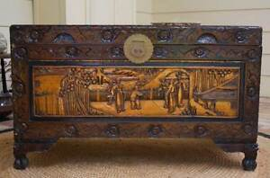 XX LARGE VINTAGE TRUNK ORNATE CARVED CAMPHOR WOOD & BRASS CHEST Alberton Port Adelaide Area Preview