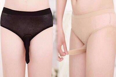 Neu Sexy Männer Herren Nylon Strumpfhose Pantyhose mit Penishülle Slip