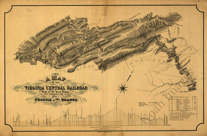 Map of the Virginia Central Railroad west of the Blue Ridge c1860 36x24