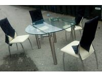 Modern Glass Dining Table And 4 Chairs Can Deliver