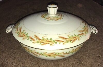 Aladdin Fine China Japan Wheat Pattern Covered Serving Bowl Dish w/Lid 8""