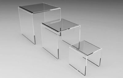 Large Set Of 3 Clear Acrylic Display Risers 4 5 6 Inch Square Wholesale