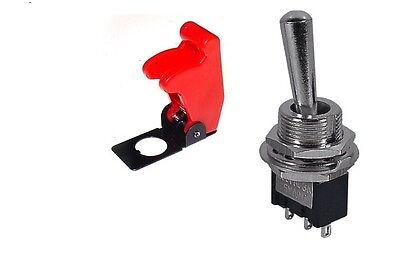 1 Pc - Spdton-on3p Mini Toggle Switch 6amp-125v Red Flip Cvr 66-123166-5015