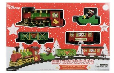 Disney Christmas Mickey Mouse Holiday Express Ready To Play 12pc Train Set NEW