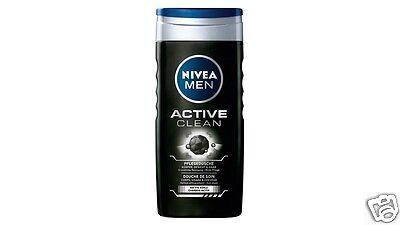 4x Nivea Für Herren Duschgel Aktiv Clean For Körper, Gesicht und Haar 250ml