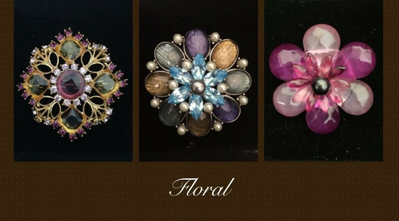 New 3 Pcs Lot Floral Flower Crystal Wedding Party Love Gift Brooches Pins S140U