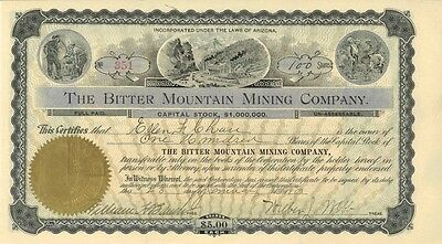 The Bitter Mountain Mining Company > 1900 Arizona old stock certificate share