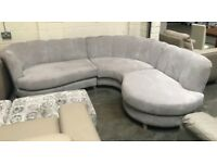 Grey fabric jelly back corner fabric sofa