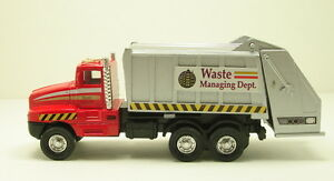 City-Garbage-Waste-disposal-Truck-Diecast-model-6-pull-back-go-action-RED-108