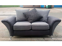 CODE 28 - CLEARANCE SOFA Tamworth 2 Seater Fabric Grey Settee - Discontinued Cheap Deal MUST GO