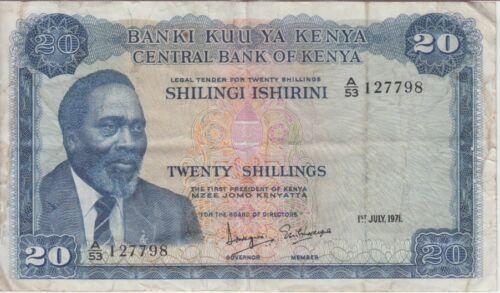 Kenya Banknote P8b-7798 20 Shillings 1.7.1971, F