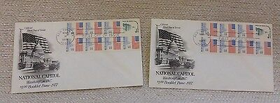 1 FDC 13¢ National Capital USA Booklet Pane 8 Stamps 1977 #1623a Artcraft 170596