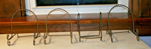 4 Braided  Brass Victorian Plate Holders 1890s   - Holds a Plate 8 to 9 inches
