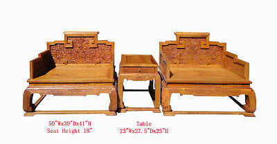 Chinese HuangHuaLi Dragon Carving Arm Chair Set/3 Pieces WK2341
