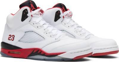 New Nike Air Jordan 5 Retro V Fire Red White Black Size 8 (2013) 136027-120 Box