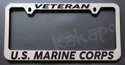 Marine Corps License Plate Frame (VETERAN US MARINE CORPS USMC Chrome License Plate Frame )