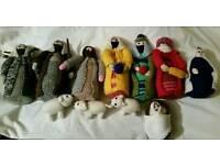 Hand knitted nativity scene